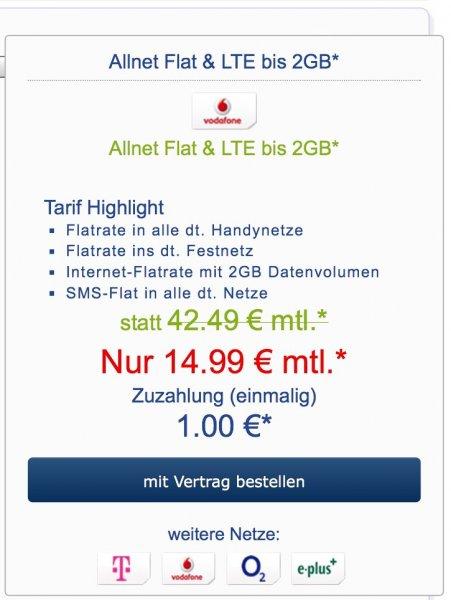 Vodafone Allnet Flat mit 2GB LTE für junge Leute 18-25 oder Student