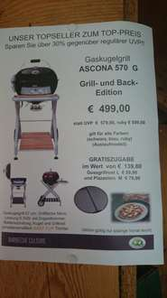 [Lokal] Grill Outdoorchef Ascona 570 inkl. Pizzastein und Gussgrillrost