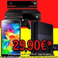 Playstation 4 / Xbox One plus Samsung Galaxy S5 + 40€ Auszahlung für nur 29,90 € monatlich