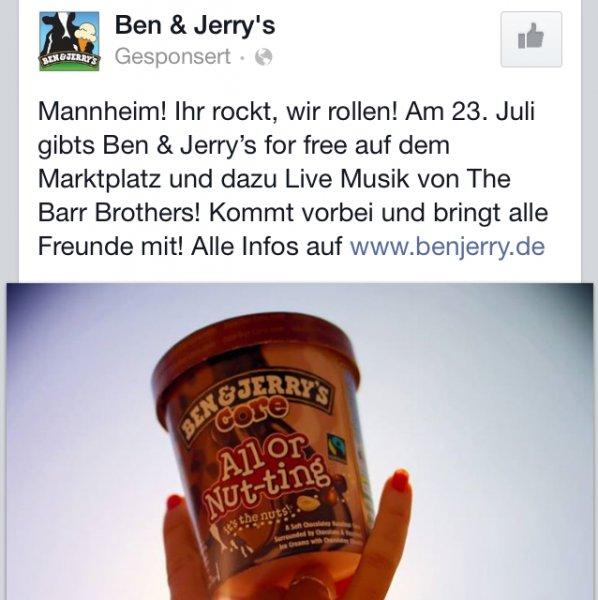 [MANNHEIM] Ben & Jerry's KOSTENLOS + LIVE-MUSIK