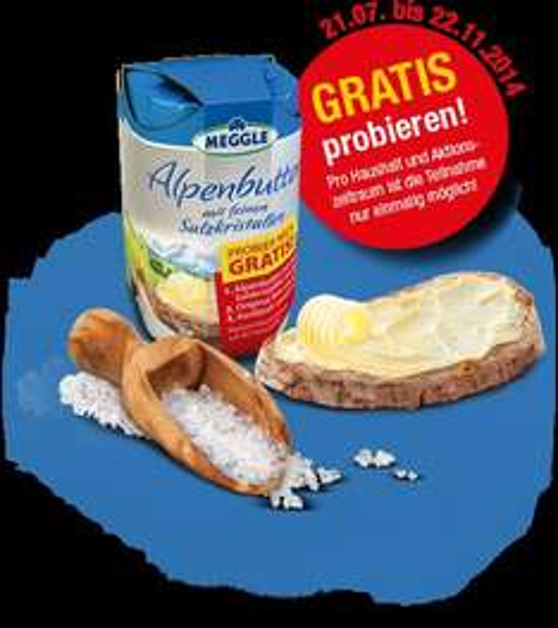 MEGGLE Alpenbutter mit feinen Salzkristallen GRATIS TESTEN