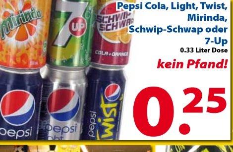 Pepsi Cola/Light, Twist, Mirinda, Schwip-Schwap,7Up 0,33l Dose ohne Pfand nur 0,25 Cent und Weitere Angebote (Lokal 2 Brüder Venlo)