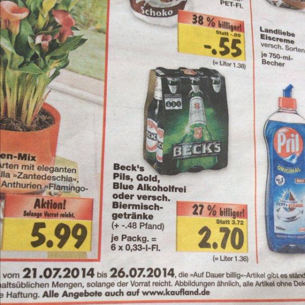 [LOKAL] Kaufland: Beck's Bier Sixpack (6x0,33) versch. Sorten für 2.70€