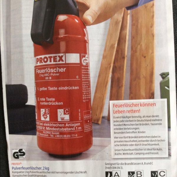 [ALDI Süd] Protex Pulverfeuerlöscher 2kg fürs Auto, Campen oder Daheim für 15,99€