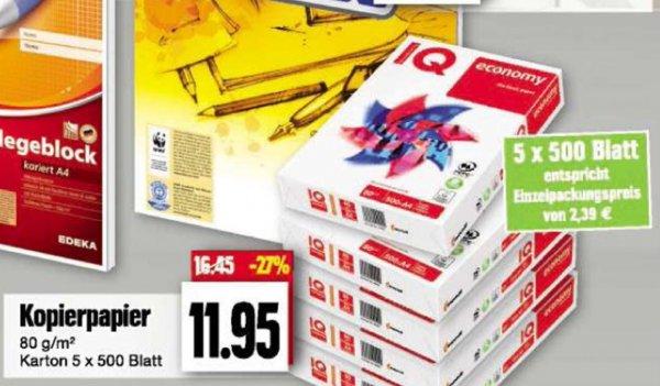 Klo... äh Kopierpapier 2500 Blatt für 11,95€ (2,39/500 Blatt) 27% günstiger[Edeka]