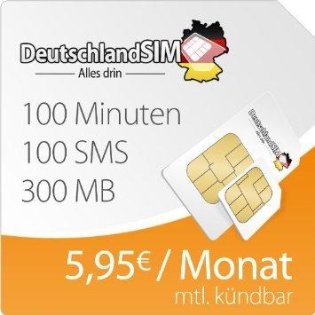 DeutschlandSim Smart 300 (4,95 €/Mon.) für 4,95 € anstatt 19,95 € AG