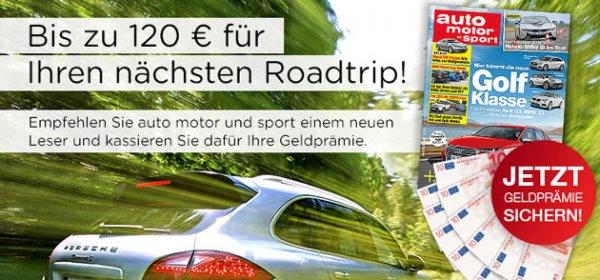 Auto Motor und Sport für 1 Jahr für 29,50€, 2 Jahre für 59€ – mit Bargeldprämie