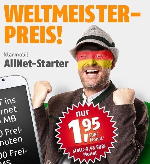 Klarmobil Allnet Starter (100/100/200MB) über crash-tarif für 1,95 im Monat