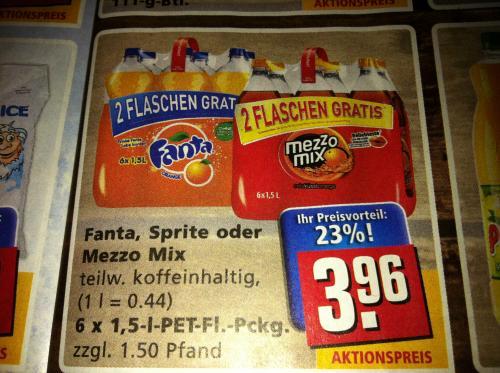 Fanta, Sprite oder Mezzo Mix 1l für 0,44€ @ Rewe