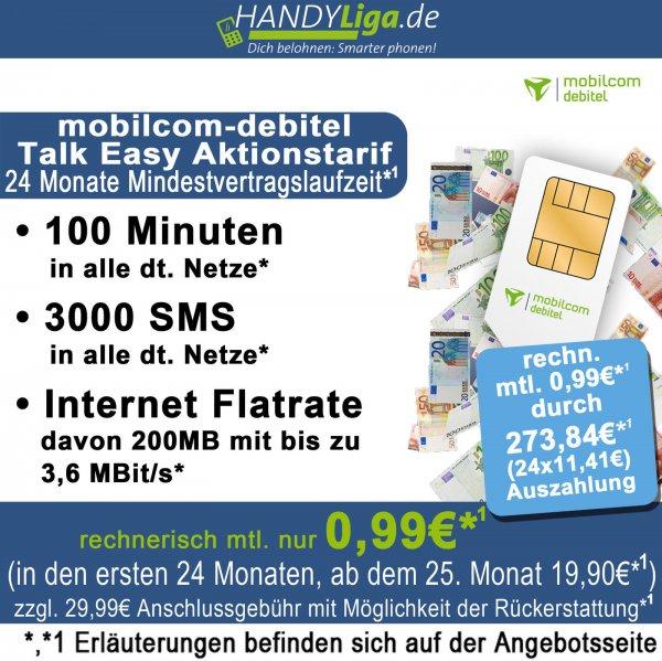 Handyliga@ebay 100 Min., 3000 SMS, 200 MB im Telekom Netz für monatlich 0,99 EUR (durch Auszahlung) - wieder da!