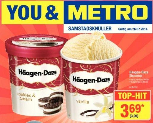 [METRO - Samstagsknüller] Häagen-Dazs Eiscreme 500 ml - 3,95