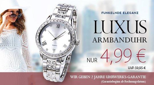 Damen-Armbanduhr Silber mit Strasssteine + 2 Paar Swarovski Ohrringe (mit Qipu -0,50€) @Silvity