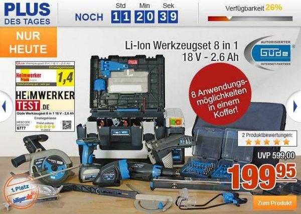 Plus.de : Güde Li Ion Werkzeugset 8 in 1 18V 2,6Ah 199,99€,  33% Ersparnis