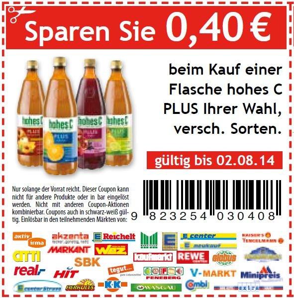 Hohes C plus für sagenhafte 0,31 € pro Flasche :-)
