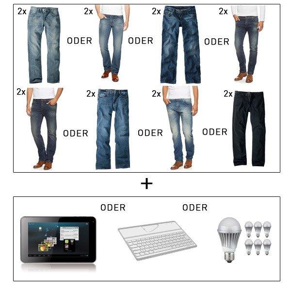 Really Crazy Ebay Wochendeal: 2 x H.I.S Jeans Herren Hosen & ARNOVA Tablet oder Ipad Tastatur oder 7 LED als BUNDLE zu 69€