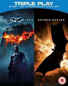 Batman Begins & The Dark Knight - Triple Play (5 Discs)  (Blu-Ray, DVD & UVCopy) für 6,98 € @Zavvi.com