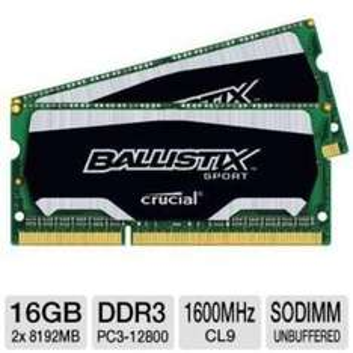 Amazon - Crucial Ballistix 16GB DDR3 Kit (2x8GB) SO-Dimm 1600MHz
