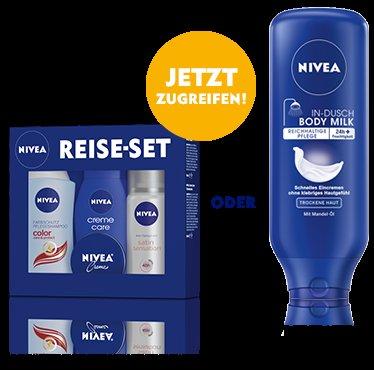 [online+offline] Gratis NIVEA-Reiseset beim Kauf von 3 NIVEA-Pflegeprodukten für NUR 9 Euro