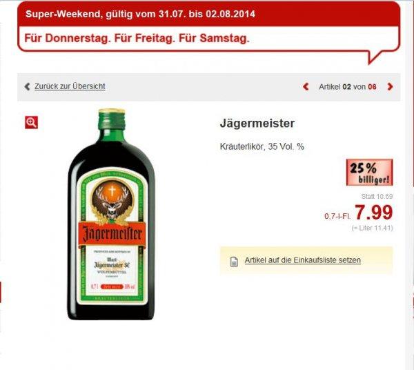 Kaufland (Landesweit NRW evtl.Bundesweit)  Jägermeister 7,99€ 0,7L