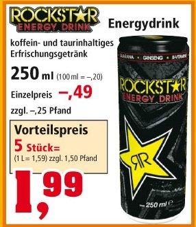 Rockstar Energy @ Thomas Philipps fünf Dosen 1,99€ zzgl. Pfand = 0,40€ pro Dose