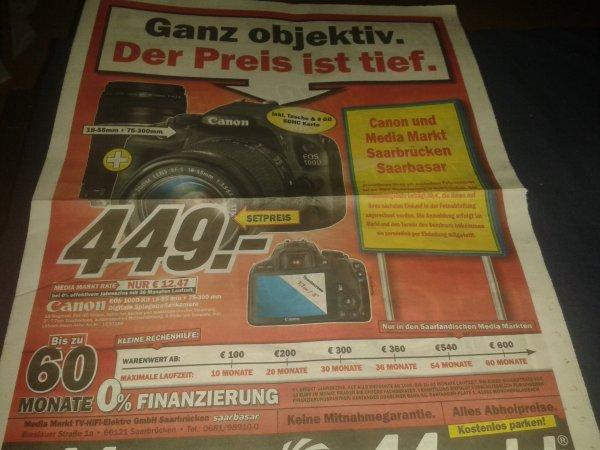 [lokal,MediaMarkt Saarbrücken]Canon EOS 100D Kit 18-55 mm +75-300 mm (inkl. Tasche & 8 GB SDHC Karte)