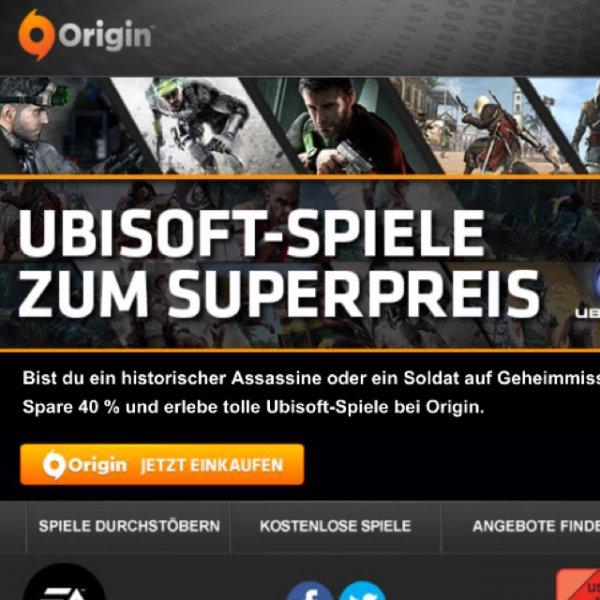 Origin 40% auf Ubisoft Spiele