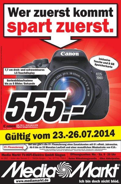 Media Markt singen Canon 700D + Tasche + 8GB SDHC für 505€