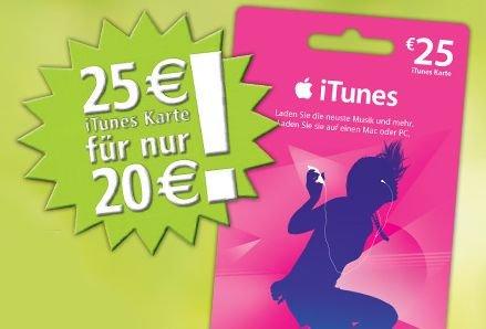 [ITUNES-AKTIONEN] 25€ iTunes Guthaben für 20€