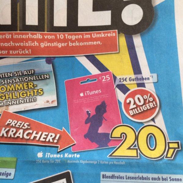 [Bundesweit] iTunes Karte 20€ = 25€
