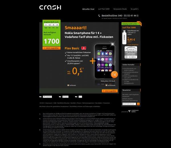 Nokia Asha 230 durch M-D Vodafone Flex Basic für 1,15€