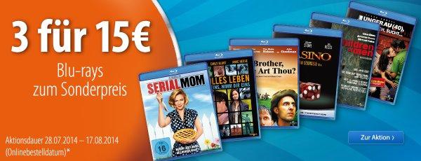[Müller] 3 Universal Blu-rays für 15€