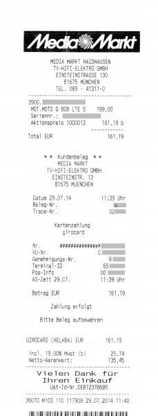 [München/Haidhausen] Motorola Moto G 8GB LTE schwarz XT1039 für 161,19€ @MediaMarkt