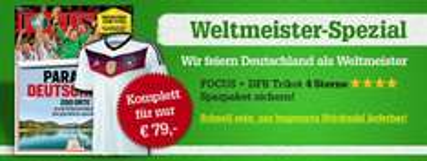 13 Ausgaben FOCUS + DFB 4 Sterne Trikot (M,L,XL) für 79€