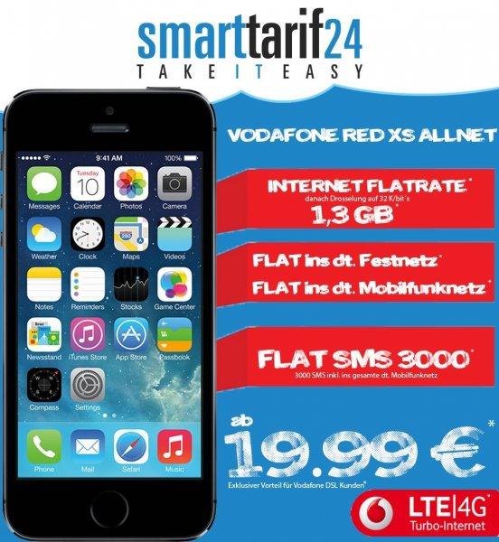VODAFONE RED XS + APPLE IPHONE 5S 19.99€ MTL.  für Vodafone DSL Kunden
