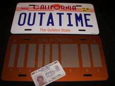 OUTATIME LICENSE PLATE  SET / Back to the Future / Delorean