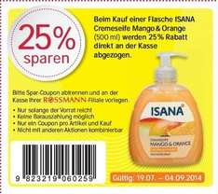 [Rossmann offline] 25% Rabatt auf ISANA Cremeseife 500ml