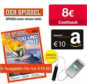 [Qipu] DER SPIEGEL: 6 Ausgaben für 16,60€ + 10€ amazon.de Gutschein + 8€ Cashback
