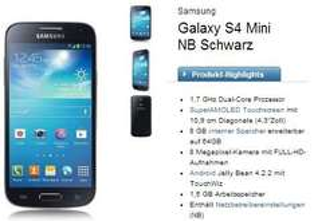 o2 Blue Basic für 9,99€ monatlich (o2-Flat, 50 Min, 200 SMS, 300mb Internetflat) inklusive Samsung Galaxy S4 mini