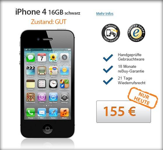 "reBuy.de After-Work-Deal - iPhone 4 16 GB schwarz, Zustand ""gut"" NUR HEUTE"
