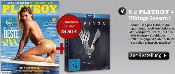 Playboy Halbjahresabo + Blu-Ray Vikings Season 1 für 34,50€