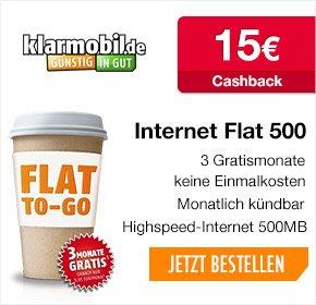klarmobil Surf-Spar-Tarif (O2-Netz, 9ct pro Min/SMS, 500mb): gratis Start-Paket, keine AG, 3 Monate frei, mtl. kündbar, ggf. 15€ Qipu