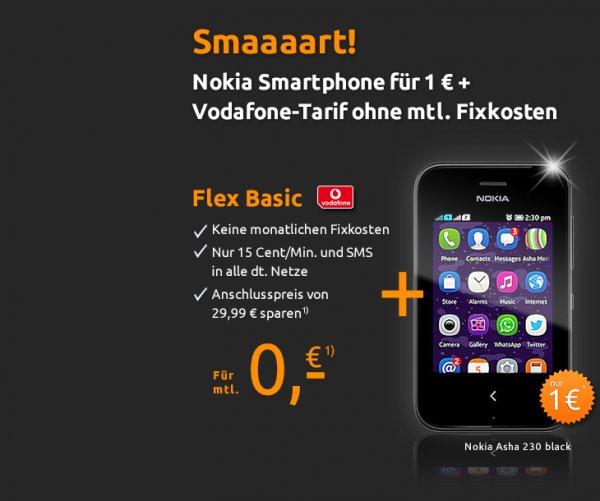 1€ Smartphone Nokia Ashe 230 ohne mtl. Fixcosten bei crash-tarife.de