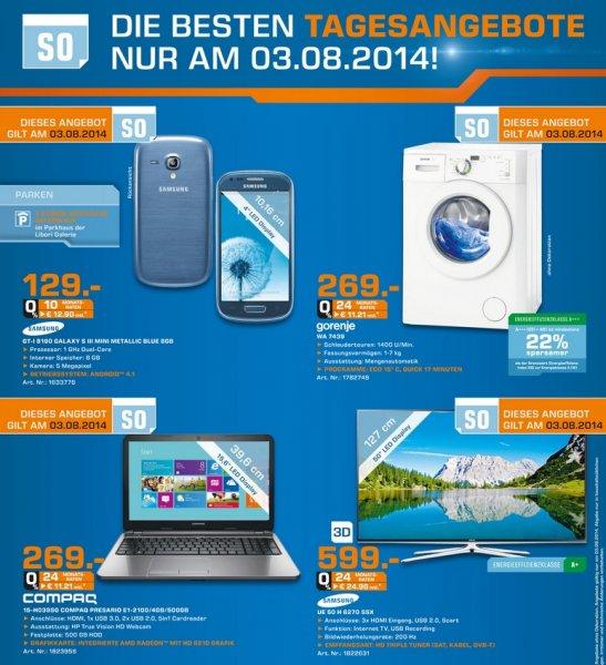 Samsung UE50H6270 für 599€,Samsung Galaxy S3 Mini Blau für 129€ Tagesangebot 03.08 Lokal [Saturn Paderborn]