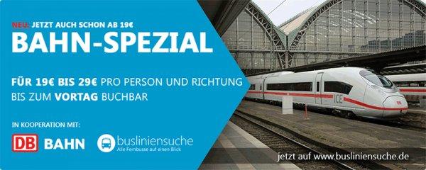 Bahn-Spezial-Ticket auf www.busliniensuche.de für 19 bis 29 Euro