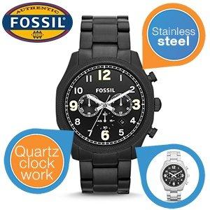 schwarze Edelstahl Herrenuhr Fossil FS4864