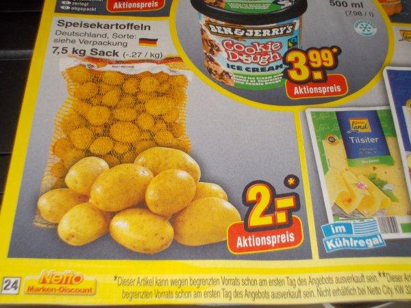 Netto Marken Discount, Nur am 09.08.14, 7,5 kg Kartoffeln für 2€