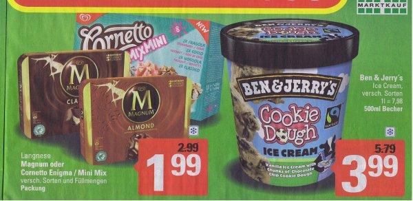 Ben & Jerry Eiscreme 500 ml bei Marktkauf 3,99€  / mit Deutschlandcard nur 2,99€  / Langnese Magnum 1,99€ / mit Deutschlandcard nur 0,99€