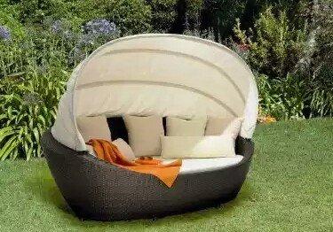 Sonneninsel/Lounge Domus Ventures Paradiso Braun oder Grau/Cream Canopy für 799 € @Möbel Borst Ehingen Ba-Wü