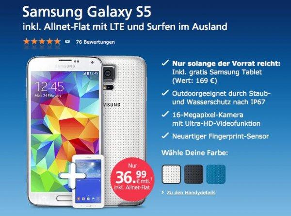 O2: Samsung Galaxy S5 LTE All-Net Flat (inkl. Internetflat EU-Zone) + Gratis Tab und 120€ Cashback @aklamio