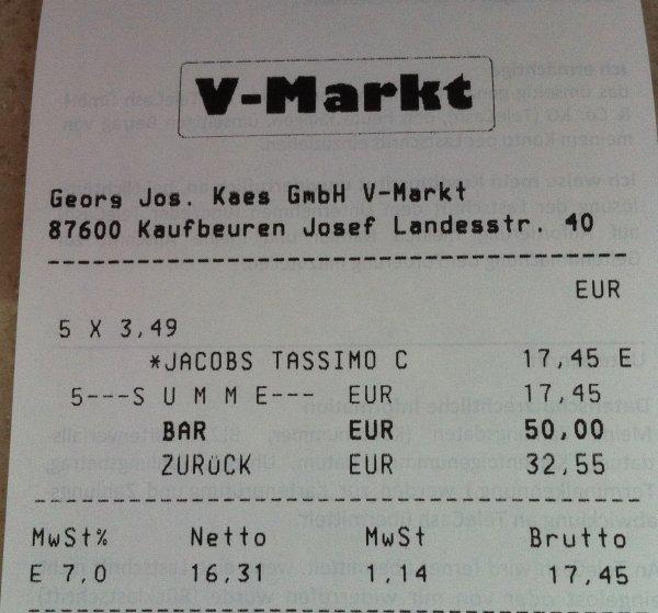 (LOKAL) Tassimo T-Discs - verschiedene Sorten - 3,49 € im V-Markt